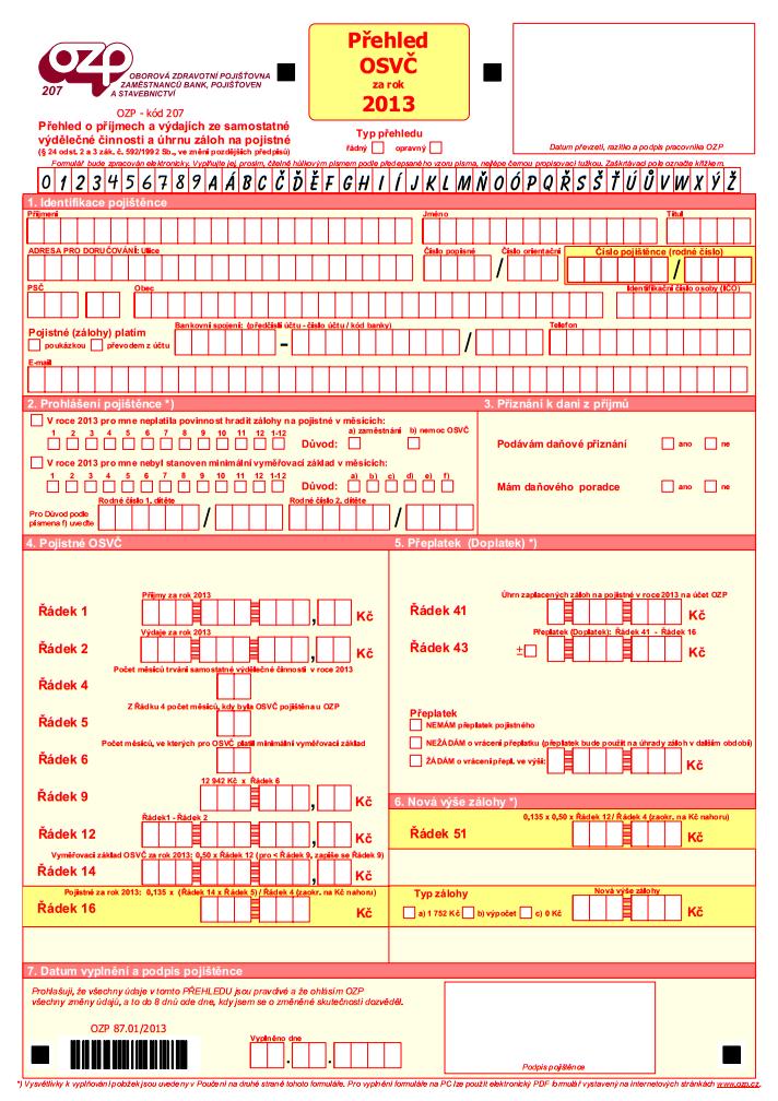 OZP - formulář